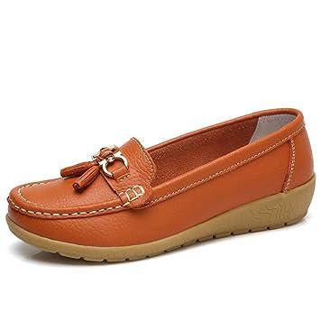 HhGold Mocasines de Cuero Nuevo para Mujer Mocasín Inteligente Mocasín Deslizamiento Plano en Zapatos cómodos (Color : Naranja, tamaño : 2.5/3 UK): ...