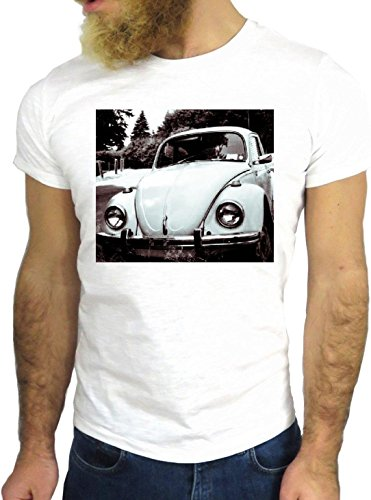T SHIRT JODE Z2348 BEETLE CAR CARS USA 60'S 70'S BLACK AND WHITE LIMO RACE ROCK GGG24 BIANCA - WHITE S