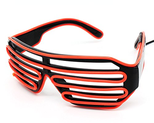 Xcellent Global El Wire Glasses Neon LED Light Up Black Shutter Frame Party Lights Decorations for Costumes Halloween Christmas, Red (El Wire Costume Kid)