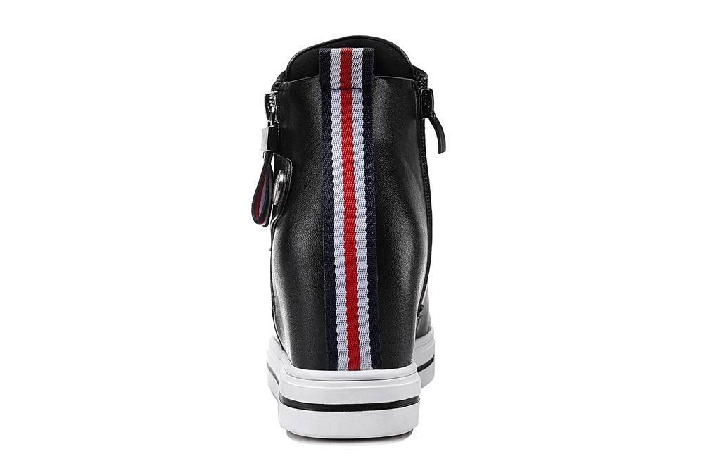 Youxuan Women's Fashion Flat Walking Shoes Zipper Girls Ankle High Casual Elevator Shoes Black 7M US by Youxuan (Image #4)