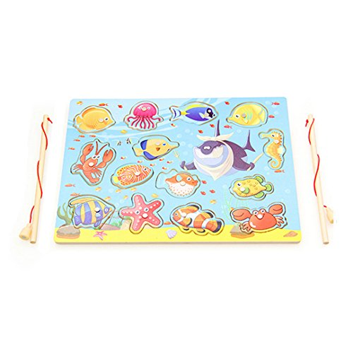 Kennedy Children Magnetic Wooden Fishing Toy 11 Fishes And 2 Poles Kids Puzzle Toy Travel Table Game Magnet Toy by Kennedy