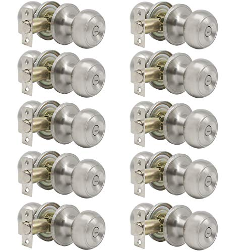 Probrico Satin Nickel Bed/Bath Door Knobs Privacy Door Knobs Interior Bathroom Locks Wholesale (10 Pack)