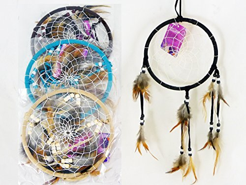 DREAM CATCHER 6.5DIA 3ASST CLR W/12 FEATHERS AND BEADS , Case of 288 by DollarItemDirect
