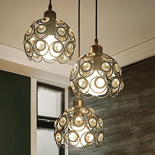 YANCEN Antique Black Metal Crystal Chandelier Lighting Hollow Pendant Light Ceiling Lamp Fixture E26 Bulb Painted Finish for Dining Room Bar Island by YANCEN (Image #5)