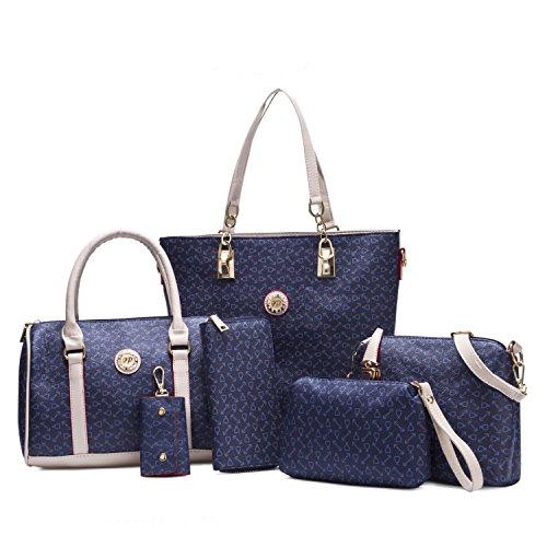 Womens 2 Piece Tote Bag Leather Handbag Crossbody Bags Set (Blue) - 9
