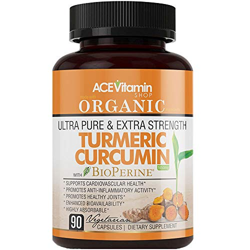 Organic Ultra Pure and Extra Strength (1650 mg) Turmeric Curcumin Extract BioPerine (90 Vegetarian Turmeric Capsules) 95% Curcuminoids   Turmeric Curcumin Capsules   Anti-Inflammatory, Anti-Aging