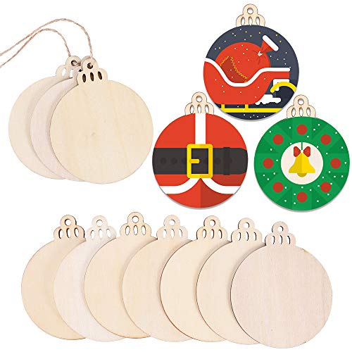 Max Fun 120PCS DIY Wooden Christmas Ornaments Unfinished Predrilled Wood Circles for Crafts Centerpieces Holiday Hanging Decorations