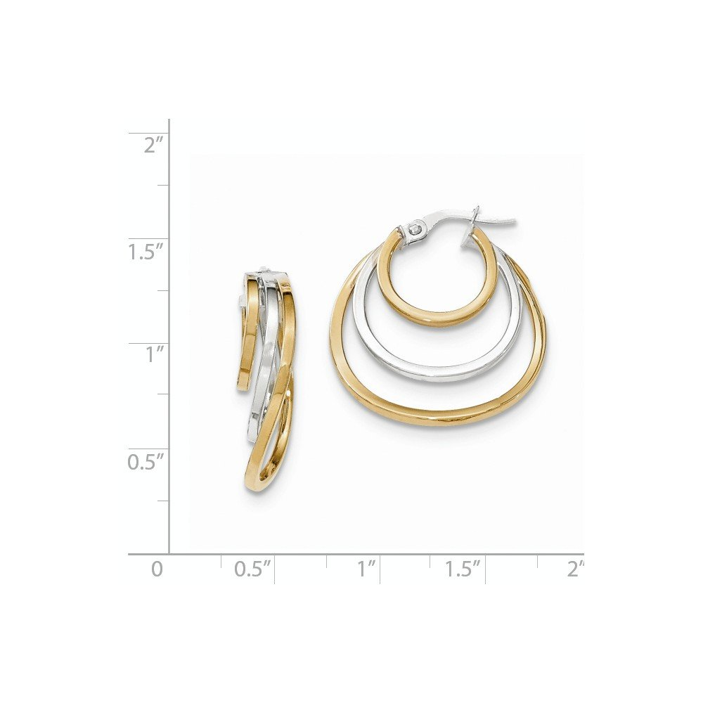 Mia Diamonds 14k Gold Two-tone Polished Post Hoop Earring
