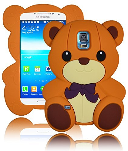 (Bastex 3D Character Silicone Case for Samsung Galaxy S5 i9600 - Light Brown Teddy Bear with)