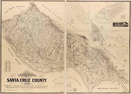 Map: 1889 Official of Santa Cruz County Copyright, 1889, by Andrew J. Hatch California Real Property Santa Cruz County Santa Cruz County Valencia Santa Cruz County Calif (Furniture Cruz Santa Office)