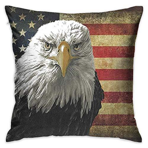 Throw Pillow Cover American Bald Eagle On Grunge Flag Decorative Pillow Case Decor Square 18x18 Inch Cushion Pillowcase