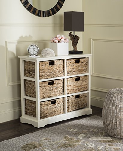 Safavieh American Homes Collection Keenan Distressed White 6 Wicker Basket Storage Chest
