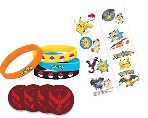 [Pokemon Party Favor Set Includes 4 Wristbands, 16 Tattoos and 4 1.5-Inches Pins] (Tattoos Of Princess Crowns)