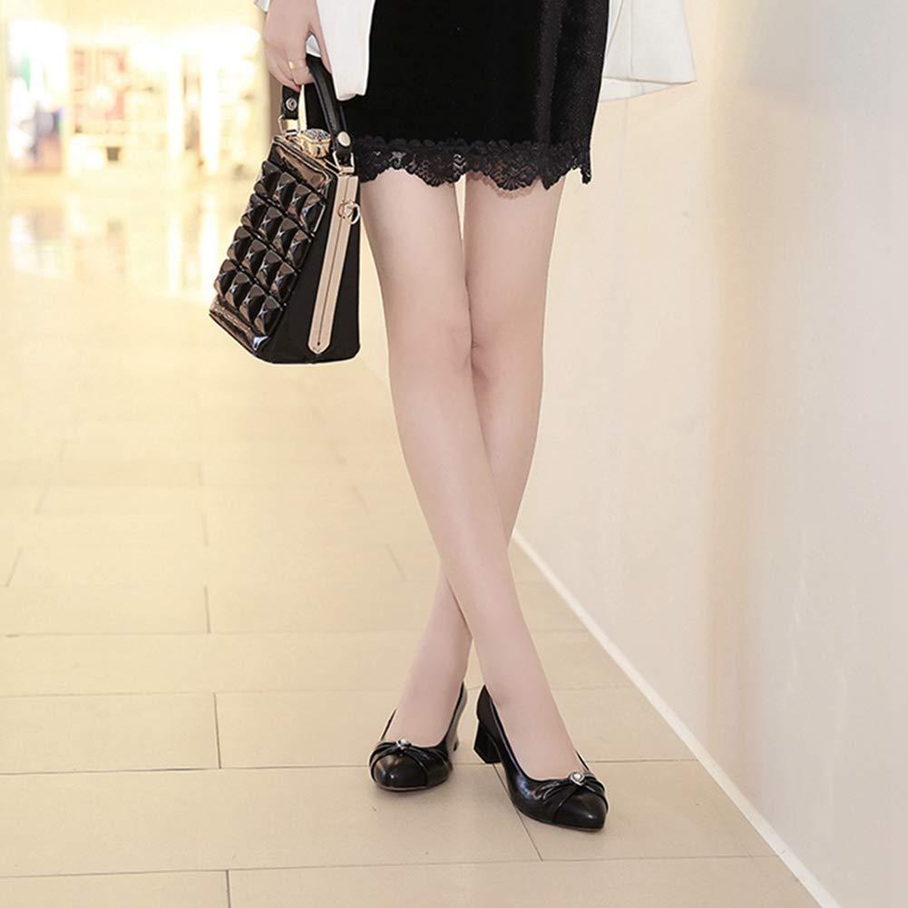Damen Kleid Oxfords Loafers Schuhe Schuhe Loafers Slip-On Spitz Toupet Retro Mid Block Heel Klassische Pumps e66216