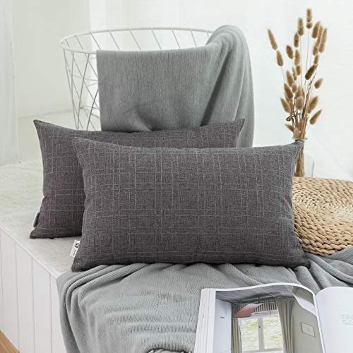 (Kevin Textile Decor Classic Durable Checkers Plaids Cotton Linen Easy Care Throw Pillow Covers Cushion Case with Hidden Zipper for Home & Kitchen, 12x20 Inch (30x50Cm), Dark Gull Gray)