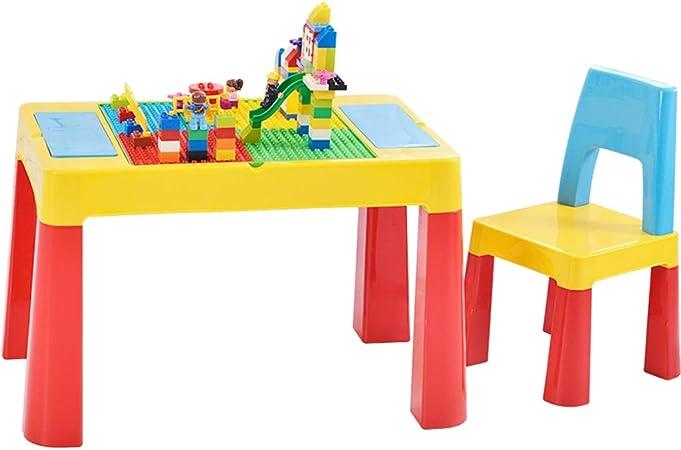 Juegos de mesas y sillas Juego de Mesa y Silla para niños Bloque de construcción para niños Mesa de Juguete Mesa de Juegos para niños Rompecabezas Mesa y sillas de Comedor de: