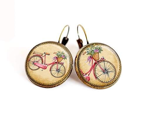 Pendientes de cabujón, Bicicleta, retro, durmientes de bronce ...