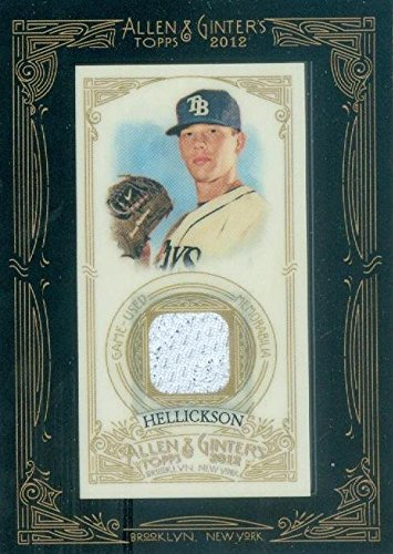 Jeremy Hellickson player worn jersey patch baseball card (Tampa Bay Rays) 2012 Topps Allen & Ginters #AGRJHE Ray Allen Authentic Jersey