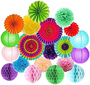 Win A Free 20Pcs Fiesta Party Decorations Tissue Paper Pom Poms Flowers…