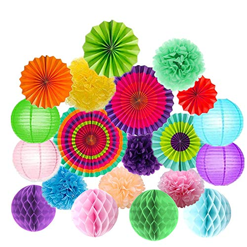 20Pcs Fiesta Party Decorations Tissue Paper Pom Poms Flowers Paper Honeycomb Balls Paper Lanterns Hanging Fan Decorations forThanksGiving,Christmas, Baby Shower, Carnival]()