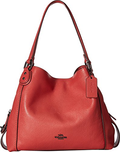 COACH Women's Pebbled Leather Edie 31 Shoulder Bag Dk/Washed Red One Size (York Weekend Leather New)