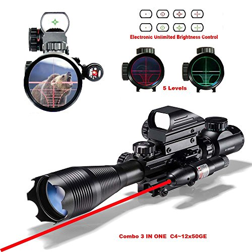 Buy Discount Toomark Ar15 Rifle Scope C4-16x50EG Dual illuminated Optics & Red Laser & Holographic 4...
