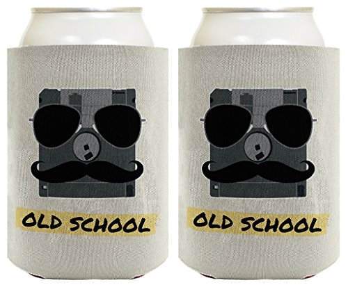 Old School Floppy Disc Mustache Aviator Sunglasses 2 Pack Can Coolie Drink Coolers Coolies - Solo Cheap Sunglasses