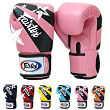 Fairtex Muay Thai Boxing Gloves BGV1 Limited Editon Nation Print Color: Pink Yellow Red Blue Size: 10 12 14 16 oz Training & Sparring All Purpose Gloves for Kick Boxing MMA K1 Tight Fit Design