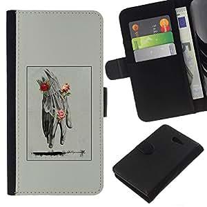 All Phone Most Case / Oferta Especial Cáscara Funda de cuero Monedero Cubierta de proteccion Caso / Wallet Case for Sony Xperia M2 // Hand Man Spring Deep Meaning Rose