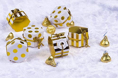 Aimto Treat Boxes Hexagon Stripes Candy Boxes bulk Polka Dot Favor Boxes Small Goodie Boxes With Tags And Rope Gold White For Baby Shower/Birthday/Wedding/Tea Party - 2'x 2'x 1'-50Pcs
