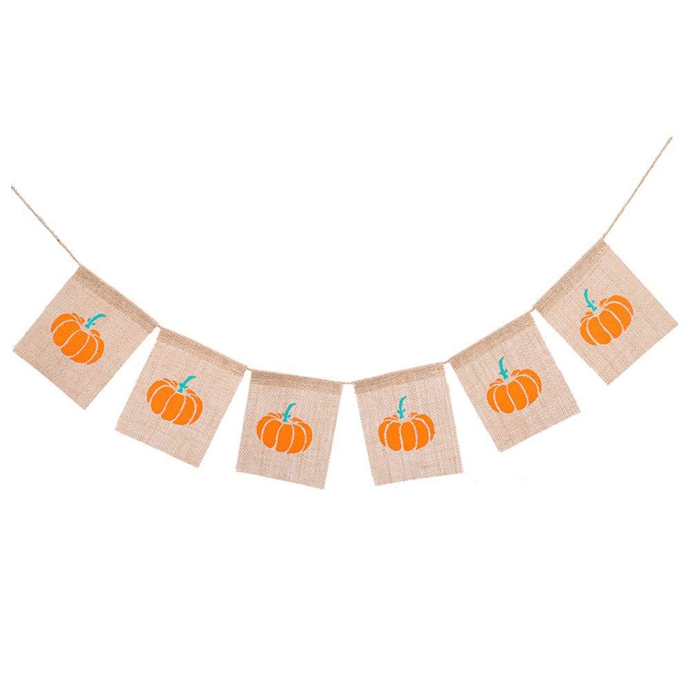 秋の装飾 バナー パンプキンバナー ハロウィン 感謝祭 パーティーデコレーション ビンテージ 素朴な黄麻布の文房 写真小道具   B07H928WVB