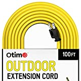 extension cord 100 ft - Otimo 100 ft 14/3 Outdoor Heavy Duty Extension Cord - 3 Prong Extension Cord, Yellow