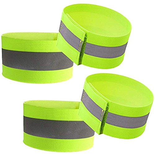 Attmu High Visibility Reflective Wristbands/Belt/Armbands (4 pack/2 Pairs), Reflective Ankle Strap Ankle Bands Running Gear - Perfect for Runners, Walkers, Cyclists and as Bike Pant Leg (Reflective Leg Wraps)