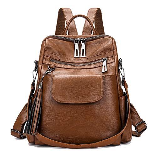 Mynos Women Backpack Purse Leather Handbag Bag Ladies Rucksack Travel Tote Shoulder Bag (Brown1)