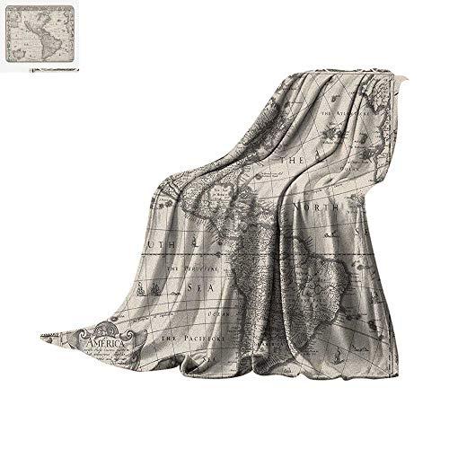 Era Flannel - World Map Super Soft Lightweight Blanket Antique Map America in 1600s World in Medieval Time Ancient Era in Retro Style Custom Design Cozy Flannel Blanket 80