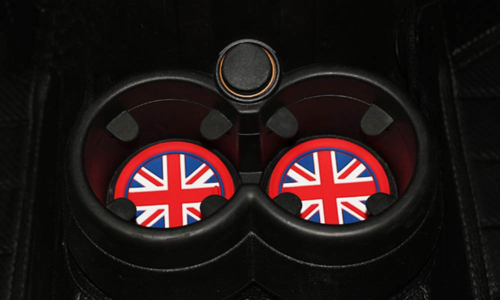 Glove Box Center Console Mats For 2011-2016 MINI Cooper R60 Countryman iJDMTOY 14pc Soft Silicone Red//Blue Union Jack Style Cup Holder Coasters Side Door Compartment