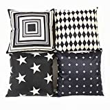 Black and Beige Stripe Vintage Style Cotton Linen Square Throw Pillow Case Decorative Cushion Cover Pillowcase Cushion Case . The beautiful item provides stylish surface to your device. .Multifunction use, home or car decoration WARM PROMPT: ...