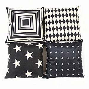 Amazon.com: Monkeysell couch pillows set of 4 Black and Beige Stripe Vintage Style Cotton Linen ...