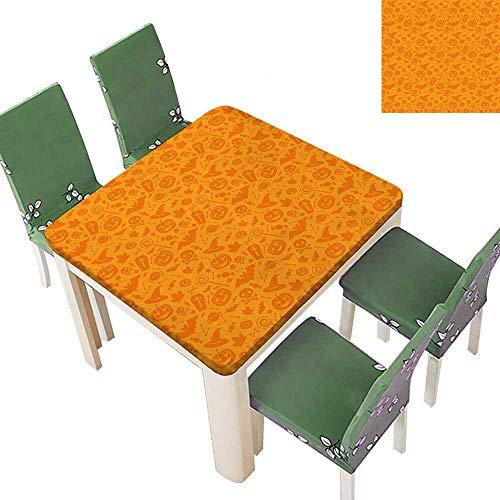 Printsonne Polyester Tablecloth Traditi al Halloween Themed Objects Celebrati Day Orange Spillproof Tablecloth 52 x 52 Inch (Elastic Edge) -