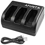 Battery Charger for GoPro Hero 5 Black Sport Camera, AFUNTA 3-Channel Charging Dock with USB Cable for Hero5 Action Camera Accessory (Without Battery)