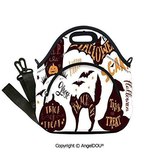 AngelDOU Vintage Halloween Reusable Insulated Lunch Bags with Pocket Halloween Symbols Trick or Treat Bat Tombstone Ghost Candy Scary Decorative for Office School Travel Picnic B12.6x12.6x6.3(inch)