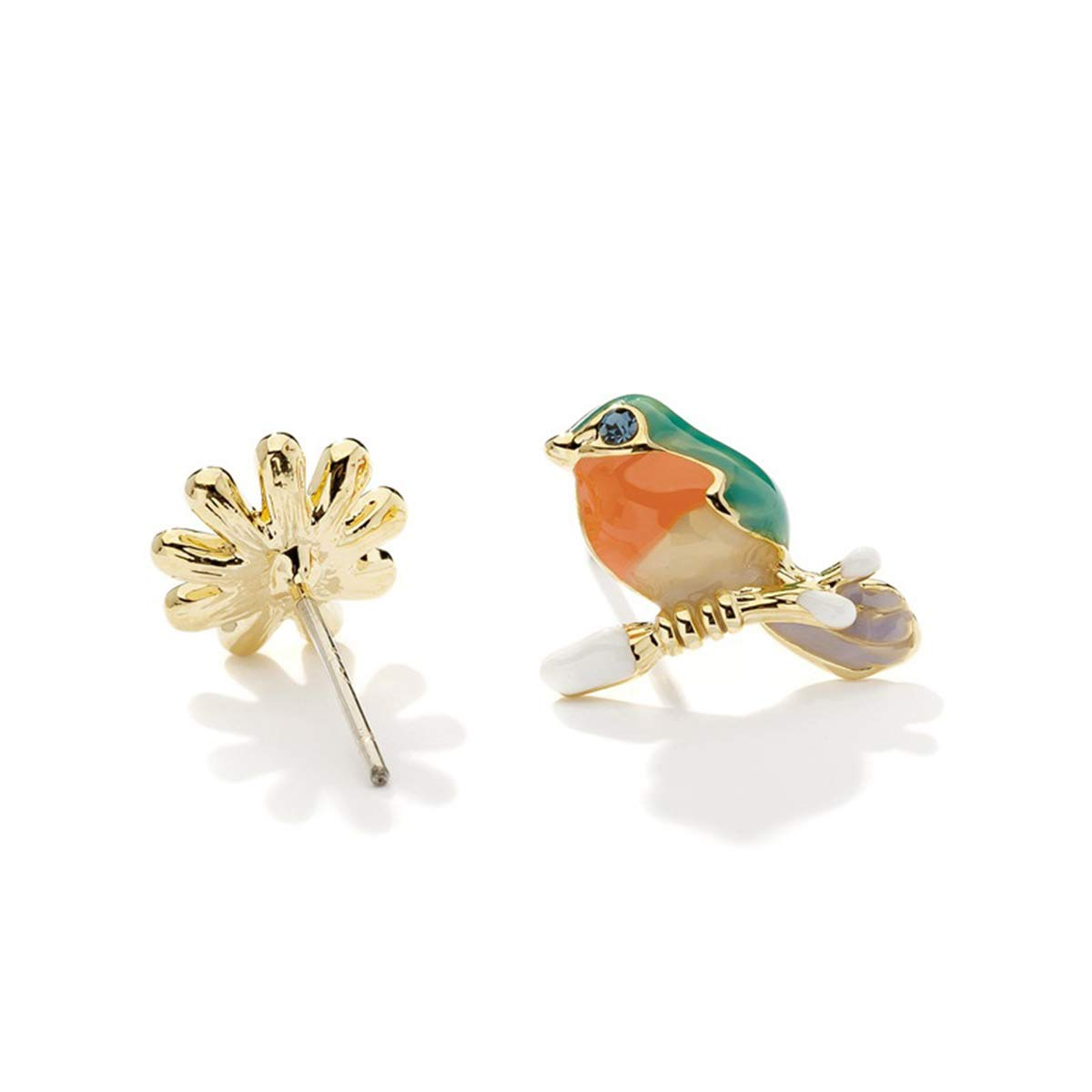 Multicolor Hugdong Colorful Glaze Crystal Accent Bird Flower Stud Earrings with Jewelry Box,Bird Earrings for Women