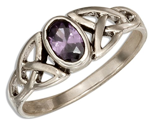 Trinity Glasses (Sterling Silver Celtic Trinity Knot Ring with Purple Glass Oval (size 09))