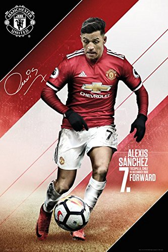 POSTER STOP ONLINE Manchester United - Sports/Soccer Poster/Print (Alexis Sanchez - 2017/2018) (Size: 24