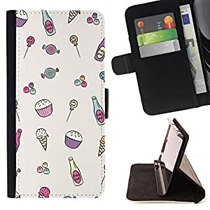 For Samsung Galaxy S3 III I9300 Ice-Cream Minimalist Cupcake Happy Pattern Style PU Leather Case Wallet Flip Stand Flap Closure Cover
