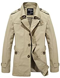 Wantdo Men's Stand Collar Wear Resistant Cotton Military Jacket Grey