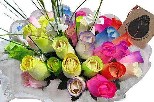 The Original Wooden Rose Spring Easter Flower Bouquet Closed bud (3 Dozen) (2 Bouquet Spring)