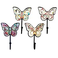 Sulida Butterfly Design Wall Hook - Vintage Hook for Hangers, Hats, Scarves and Keys, 4PCS