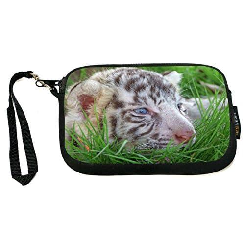 rikki knight baby white tiger in grass with bright blue eyes design