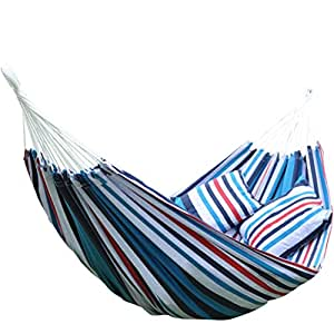 Wnnideo Brazilian Double Hammock - Extra-Long Portable Hammock Bed for Backpacking, Travel, Beach, Backyard, Porch, Indoor& Outdoor - Hanging Rope Carrying Bag 2 Pillows Included (Ocean Blue Stripes)